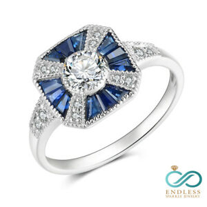 0.91 CT Blue Sapphire Gemstone 14K White Gold Real Diamond Bridal Ring Jewelry