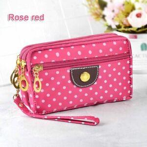 Wallet For Women Small Handbag Canvas Dot Zipper Moneybag Clutch Coin Purse Lady