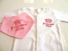 PERSONALISED BIB  & BABY GROW - PRINCESS - BEAUTIFULLY EMBROIDERED NEXT DAY