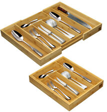 Adjustable Wooden Bamboo Cutlery Utensils Tray Storage Drawer Insert Organiser