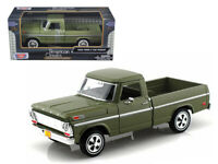 1969 Ford F-100 Pickup Truck Green 1/24 Scale Diecast Car Model by Motormax