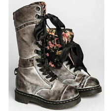 Women Fold Over Cuff Floral Lined Mid-Calf Boots Lace Up Combat Casual Booties