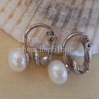 Perle Ohrringe-9-10mm weißes Süßwasser Perle Ohrclips