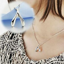 Magical wishbone necklace in gift bag silver plated love infinity wish bone UK