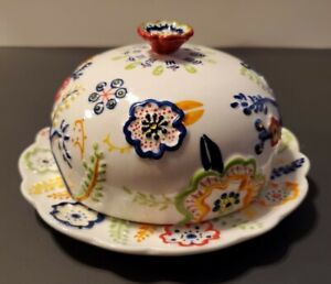 Anthropologie Ceramic Covered Butter Dish Primary Colors Raised Floral flowers