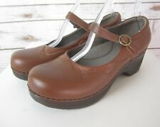Sanita Womens 41 US 10.5 Brown Leather Clogs Shoes Professional Shoe Mary Janes