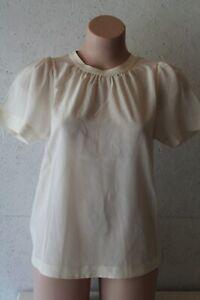 Country Road 100% silk cream cap sleeve blouse  top sz XXS