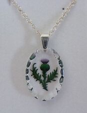 Hand Painted Oval Thistle Crystal Pendant