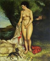 Quality Hand Painted Oil Painting Repro Renoir, Pierre-Auguste Bather, 20x24in