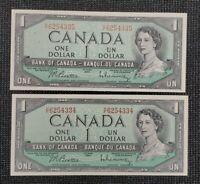 Canada 1954 Beattie Rasminsky BC-37b-i $1.00 Banknote HF 2 Consecutive Lot UNC