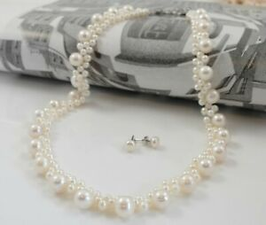 Creamy White Blossom Freshwater Pearl Princess Necklace & Studs Bridal Set