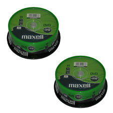 50 Maxell Branded DVD+RW Disc (4x) 4.7GB 120Min Spindle Cake Box Rewritable