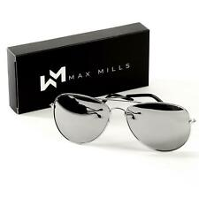 Max Mills Mirrored Sunglasses Men Women Unisex Retro Pilot Summer UV400