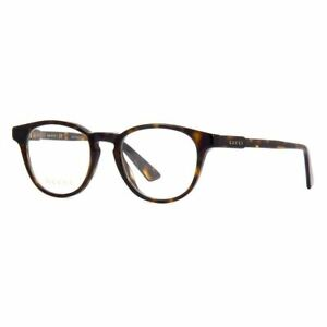 New Authentic Gucci Round Men's Eyeglasses Havana W/Demo Lens GG0491O 002