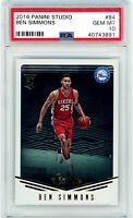 BEN SIMMONS 2016 Panini Studio Rookie Card RC #84 PSA 10 Gem Mint 76ers