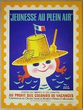 """HERVé MORVAN affichette originale (années 50-60) """"JEUNESSE EN PLEIN AIR """""""