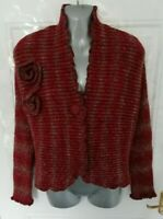 NINA MURATI Size 16 (L) Red Brown Ribbed Stretchy Wool Blend Cardigan Lagenlook