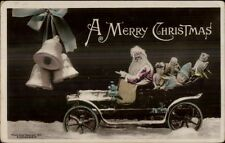 Christmas - Santa Claus in Car w/ Toys c1910 Tinted Real Photo Postcard