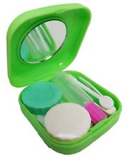 Green Mini Colour Contact Lens Travel Kit Case - Pocket Size - Case - Tweezer