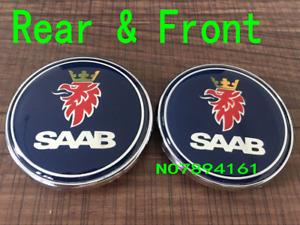 2x SAAB 68mm Front Bonnet & Trunk Boot Emblem Badges 93 95 9-3 9-5