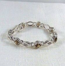 5.52 ct Genuine Smoky Topaz & Diamond Rhodium Plated Brass Bracelet