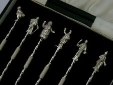 More details for rare charles dickens sterling silver cocktail sticks barware 1973 oliver twist