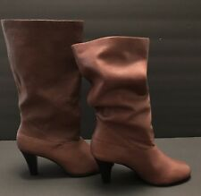 f1ad42e3b Saks Fifth Avenue Women's Slouchy Brown Leather Medium Heel Boots - Size 6M