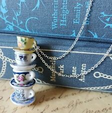 aLiCe MISMATCHED CHINA FOUR 4 BLUE YELLOW FLOWER TEA CUPS STACK SILVER NECKLACE