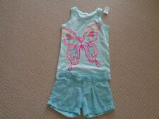 GAP  Aqua/White Stripe  Shorts Linen and cottonSize 6  Gap Butterfly Top NWT 6-7