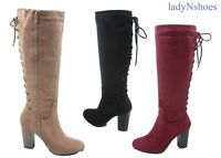 NEW Women's Back Lace Up Chunky Heel Zipper Knee High Boots Shoes size 5.5 - 10