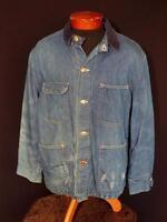 VINTAGE 1970'S  LONG BLUE COTTON DENIM BLANKET LINED JACKET SIZE LARGE