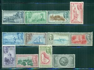 BARBADOS 216-27 SG271-82 MH 1950 KGVI set of 12 Cat$73