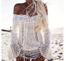 Boat Neck Laciness Sexy Blouse Design - White
