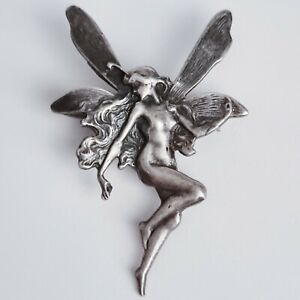 Vintage Art Nouveau 925 Solid Sterling Silver Fairy Nymph Pin Brooch 4cm 5g