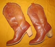1980s Dingo Brown leather & reptile Cowboy western stack heel boots 8 M Vintage