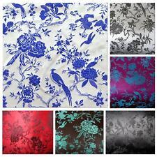 Faux Silk Brocade (Pheasant Flower) Jacquard Damask Kimono Fabric Material BL7