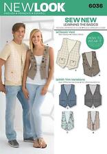 NEW LOOK SEWING PATTERN MISSES' & MENS VEST WAISTCOATS 6-16  6036