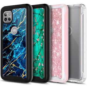 For Motorola One 5G Ace Case, Full Body Bumper Cover + Built-In Screen Protector