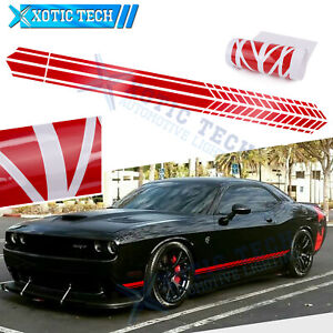 2Pc Auto Glossy Red Side Body Fender Sticker For Dodge Challenger Charger 2000+