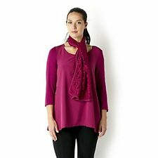 Chelsea Muse/Christopher Fink Hi-Low Top Woven Front/Lace Scarf Raspberry Small