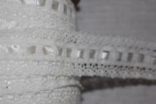 "$1 yard White Cotton Cluny Crochet Satin Ribbon Insertion Non stretch trim 2"" g"