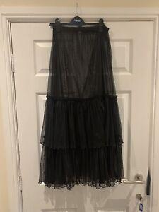 New Black Women Escalada Petticoat Underskirt Goth RockabillySkirt Sz 2 (16-18)