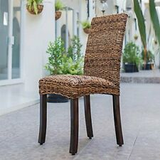Louisa Abaca Cushioned Seat Dining Chair with Mahogany Hardwood Frame - Salak...