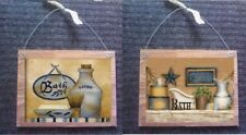 Primitive Bathroom Pictures Vintage Looking Wall Hangings Old Time Bath Plaques