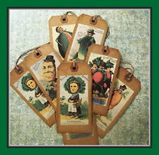 VEGETABLE GARDEN PEOPLE - HANG TAGS - PRIMITIVE STYLE - EIGHT VINTAGE DESIGNS