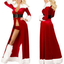 Women Sexy Xmas Long Maxi Dress Christmas Fur Collar Santa Dress Costumes Party