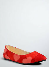 Torrid Heart Patch Flats Red Pink Heart Flats Shoes Size 9 Wide Width #5