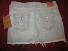 NWT TRUE RELIGION Sadie SUNBLEACHED Freyed Hem Denim Skirt..size 31