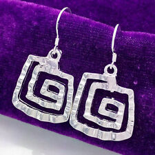 New Women fashion Jewelry 925 Sterling Silver Plated Hoop Solid Dangle Earrings