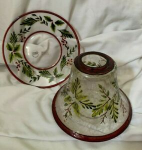 Yankee Candle Crackle Glass Holly And Pine Candle Shade and Plate